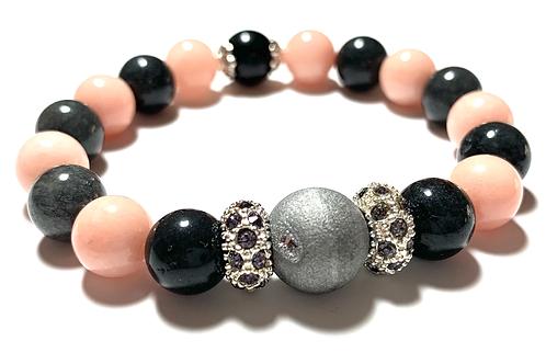 Stunning Druzy quartz stones with gray jade mixed beads