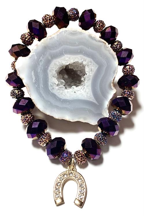 Gold tone rhinestone Horse shoe with purple Crystal beads