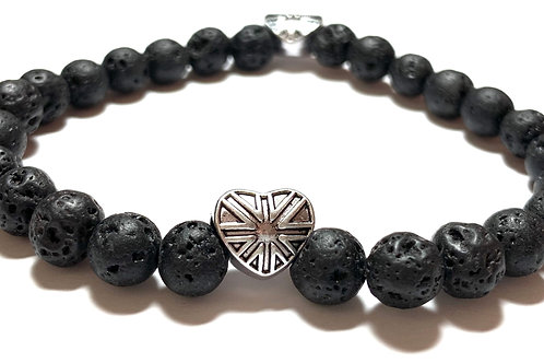 Black Lava beads with 2 silver toned metal union jack hearts