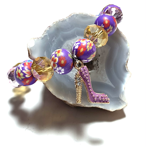 Purple shoe charm with mixed light weight beads