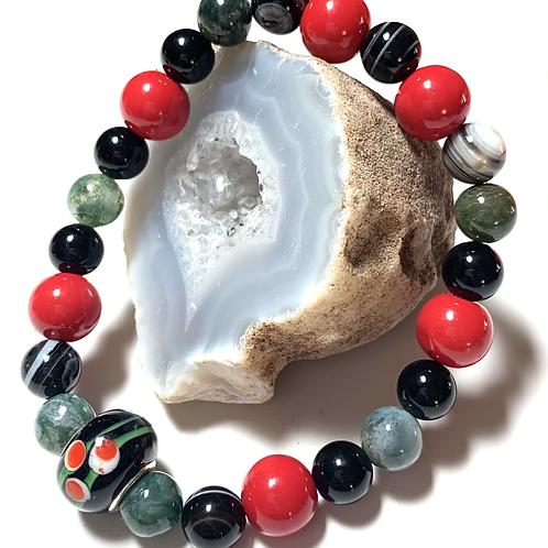 Black and Red semi precious beads