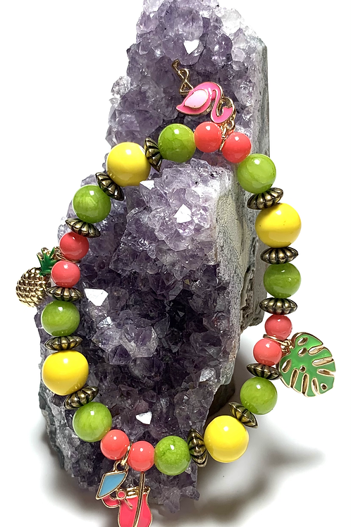 Four Tropical charms with mixed beads