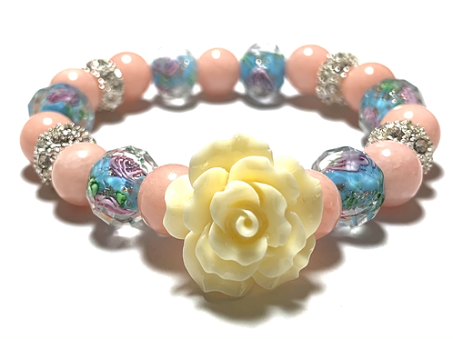 Pink and Blue natural mixed beads with large rose bead with rhinestones