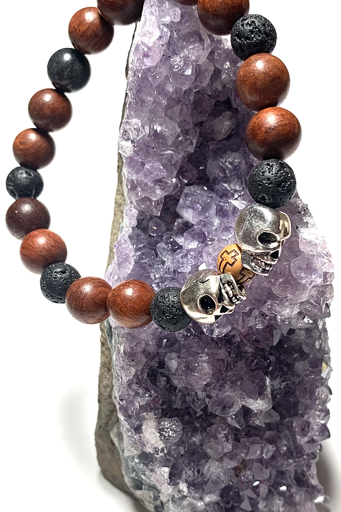 Lava beads with wood beads with 2 metal skulls