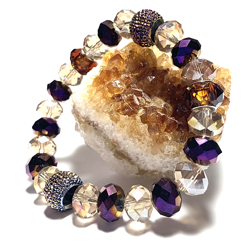 Chunky mixed Crystal beads with purple and browns