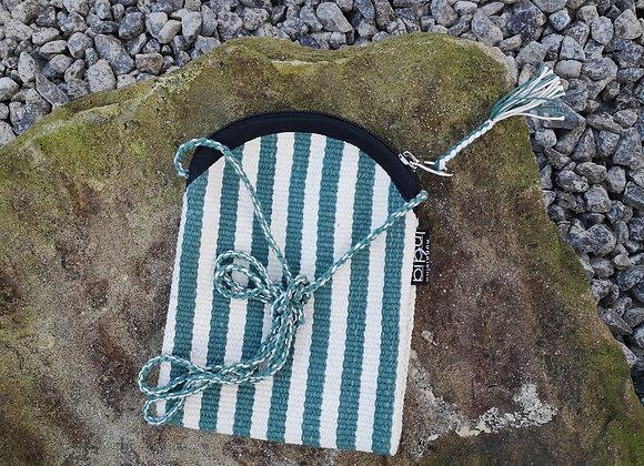 Mobile Bag - Pale Green & White Stripes