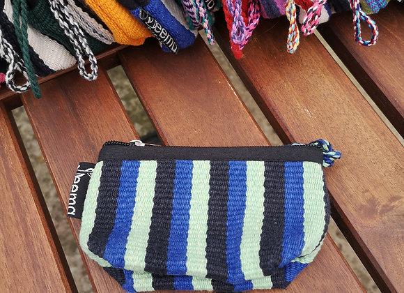 Mini Purse - Black, Blue & Green Stripes