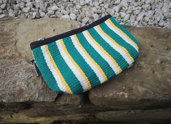 Small Pouch - Green & Yellow Stripe