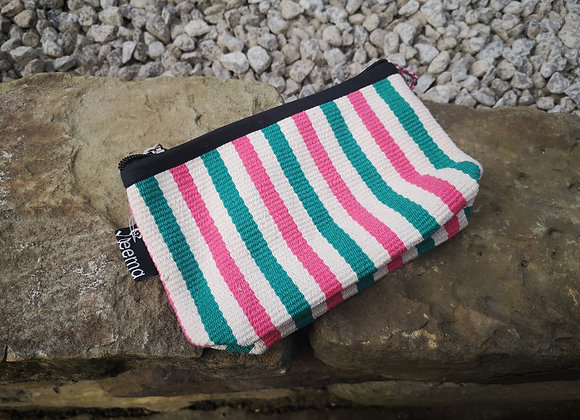 Small Pouch - Pink & Green Stripe