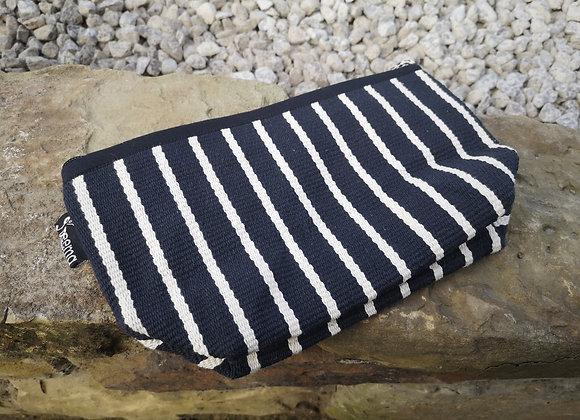 Medium Pouch - Black with White Stripe
