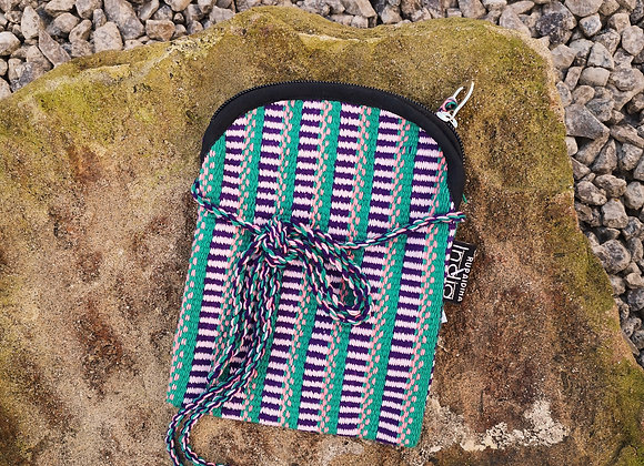 Mobile Bag - Green with Purple & Orange Check