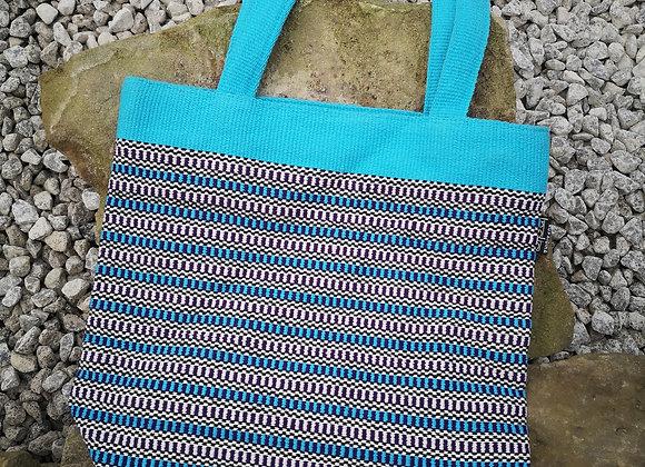 Medium Tote Bag : Aqua & Blue Check
