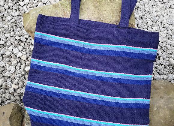 Large Tote Bag : Purple & Blue Stripes