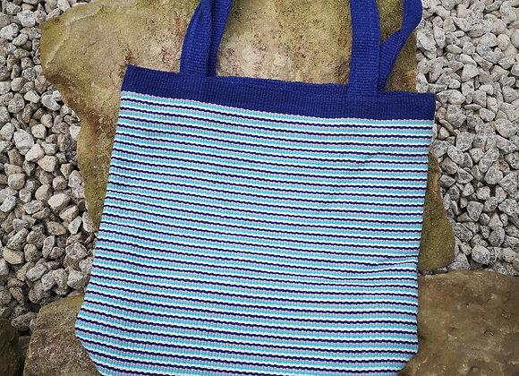 Medium Tote Bag : Blue Stripes
