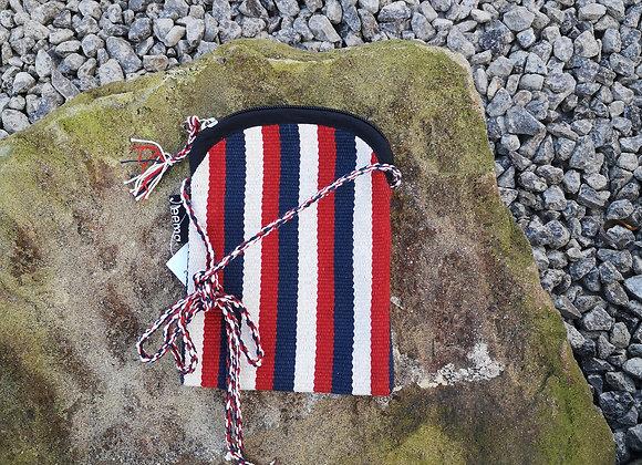 Mobile Bag - Red, White & Black Stripes