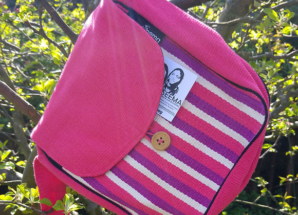 Rachel Shoulder Bag - Pink and Purple Stripes