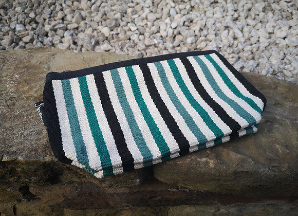 Medium Pouch - Green, Black & White Stripes