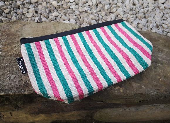 Medium Pouch - Pink & Green Stripe