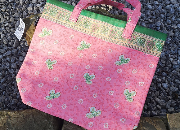 Saree Tote Bag - Pink with Green Flowers