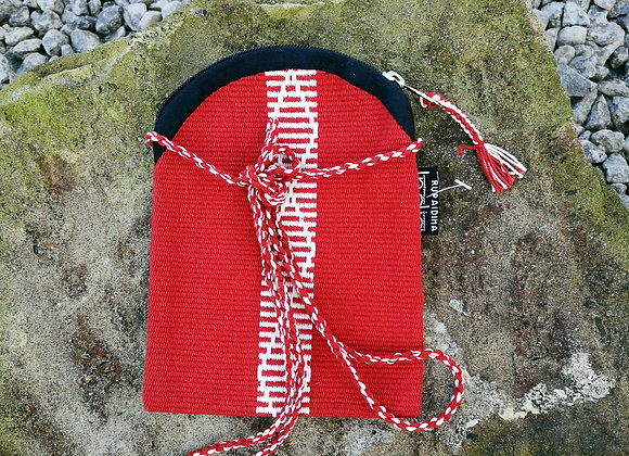 Mobile Bag - Red with White Diamond