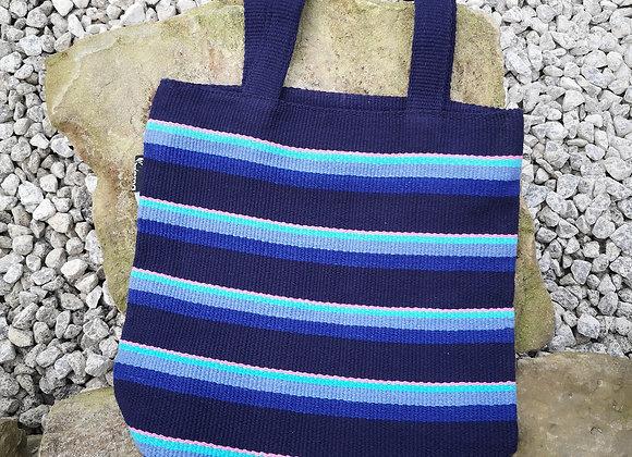 Small Tote Bag : Blue Stripes