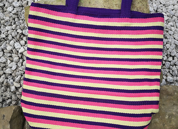 Large Tote Bag : Pink & Purple Stripes