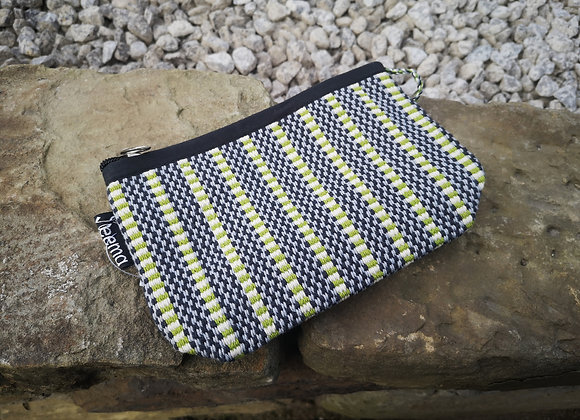 Small Pouch - Lime, Black & White Check