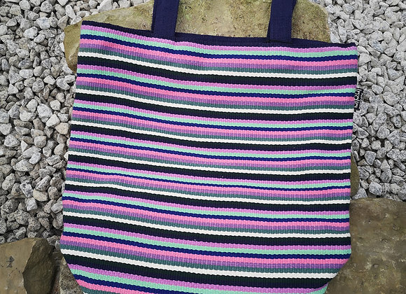 Large Tote Bag : Pink & Blue Stripes