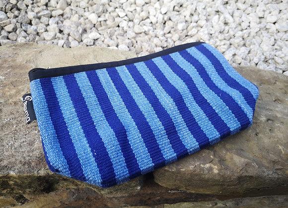 Medium Pouch - Blue & Light Blue Stripe