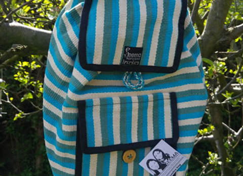 Sumitra Back Pack - Blue/Green Stripe