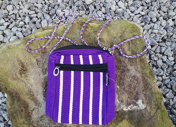 'Passport' Bag - Purple with White Stripes