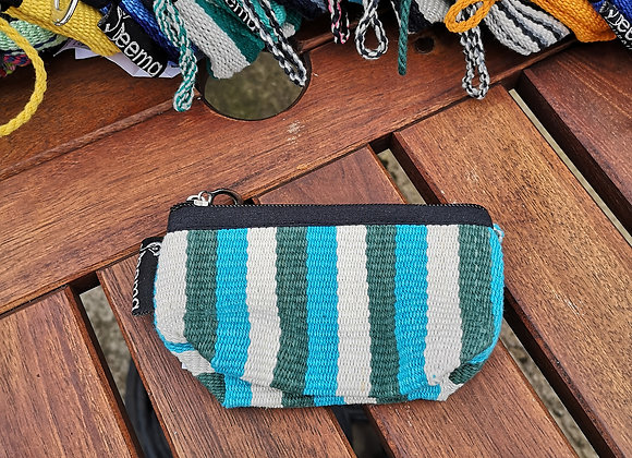 Mini Purse - Green & Blue Stripes