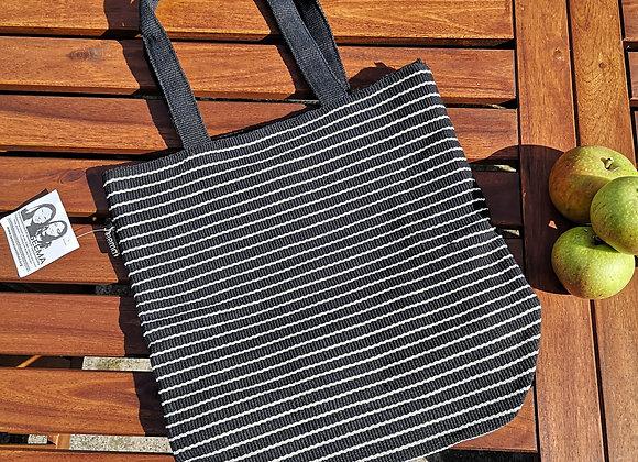 Medium Tote Bag : Black with White Stripe
