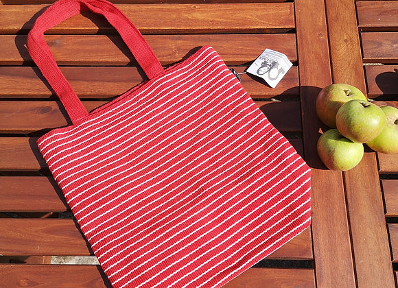 Medium Tote Bag : Red with White Stripe