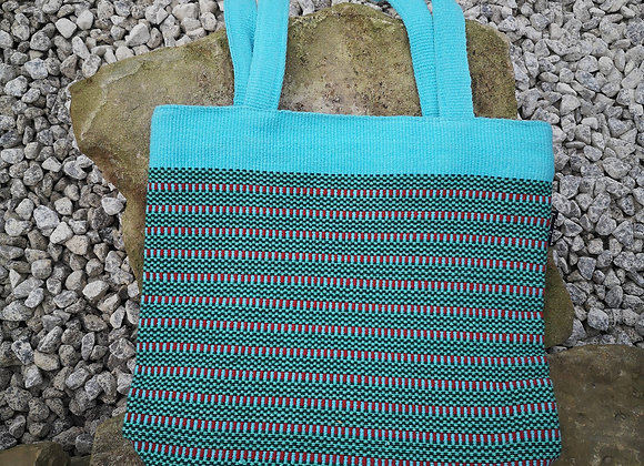 Medium Tote Bag : Turquoise & Red Check