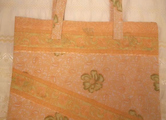 Saree Tote Bag - Pale Orange Design