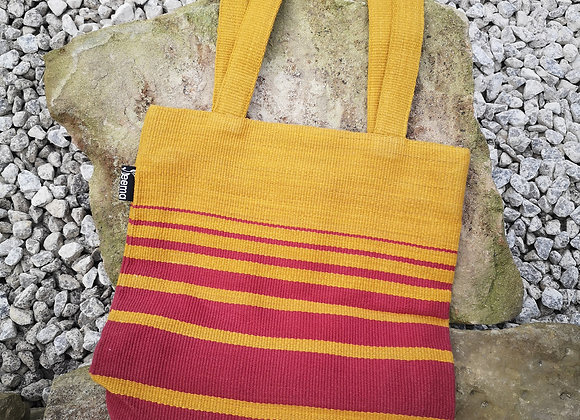 Small Tote Bag : Mustard & Red
