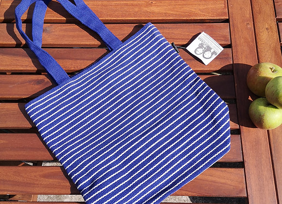 Medium Tote Bag : Blue with White Stripe