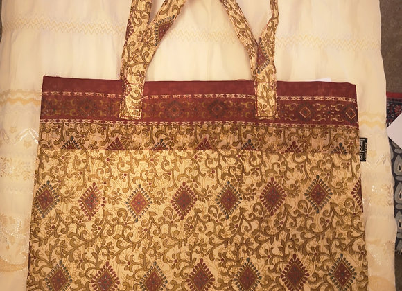 Saree Tote Bag - Purple Floral Design