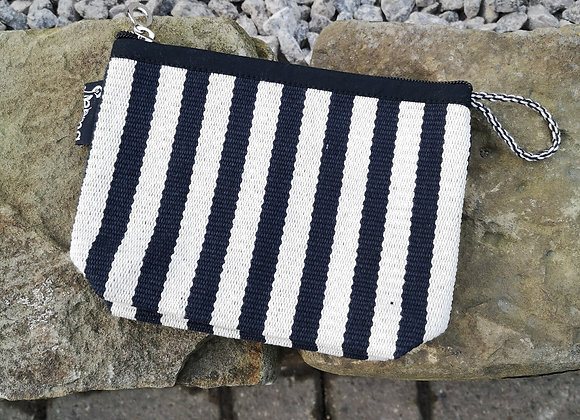 Small Pouch - White & Black Stripes