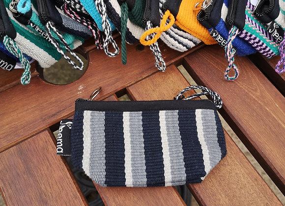 Mini Purse - Black with Grey & White Stripes