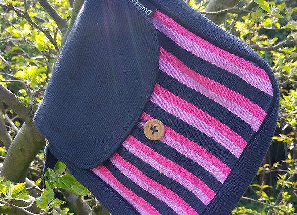 Rachel Shoulder Bag - Black with Pink Stripes
