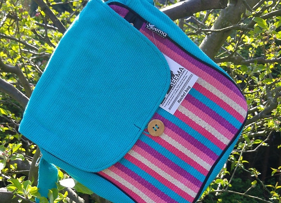 Rachel Shoulder Bag - Blue with Pink Stripes