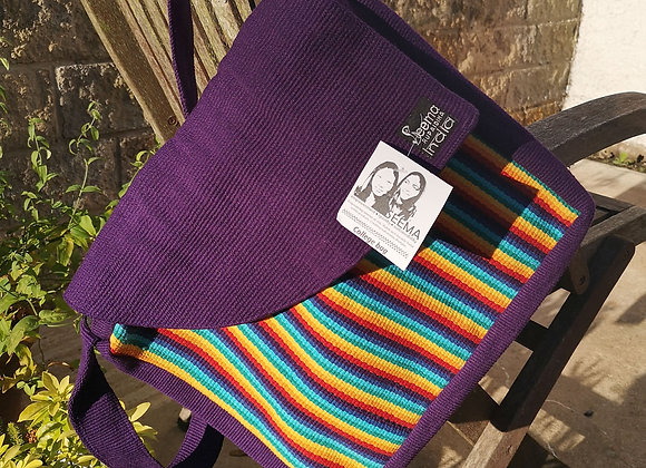 College Bag- Purple & Narrow Rainbow