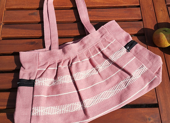 Gathered Bag : Salmon Diamond