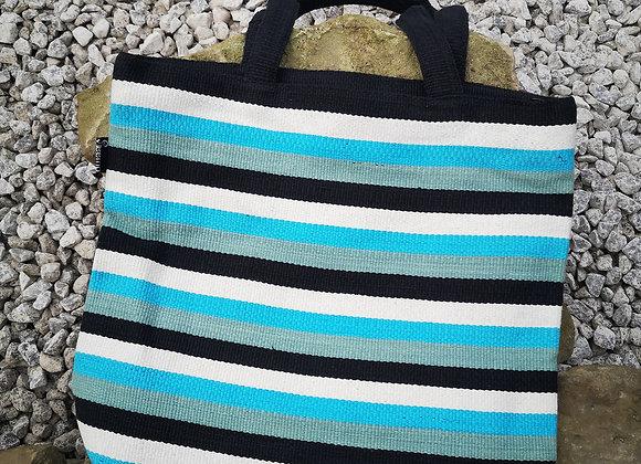 Large Tote Bag : Black, White & Aqua Stripe