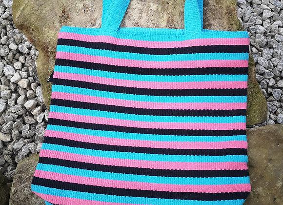 Small Tote Bag : Aqua, Pink & Black