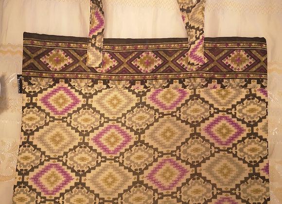 Saree Tote Bag - Purple Diamond Design