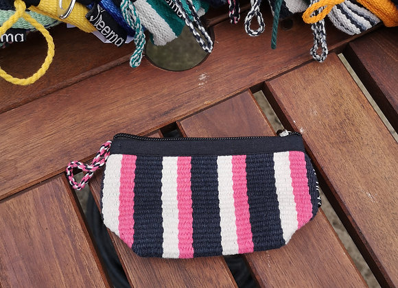 Mini Purse - Black, White & Pink Stripes