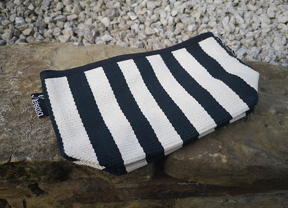 Medium Pouch - Black & White Stripes